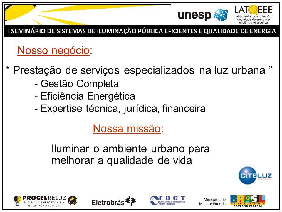 Prestação de serviços especializados na luz urbana