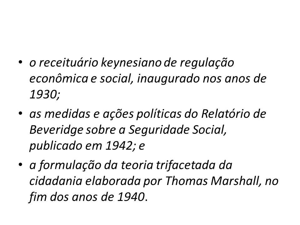 o receituário keynesiano de regulação econômica e social, inaugurado nos anos de 1930;