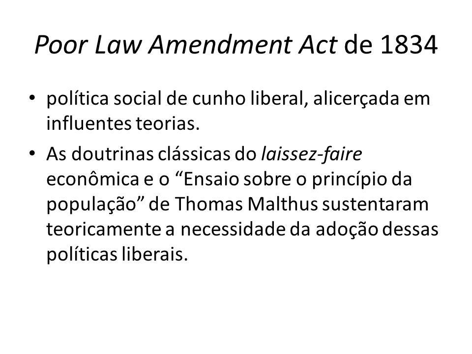 Poor Law Amendment Act de 1834