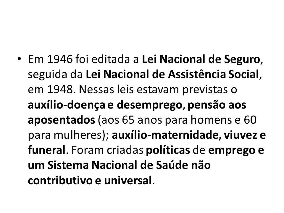 Em 1946 foi editada a Lei Nacional de Seguro, seguida da Lei Nacional de Assistência Social, em 1948.