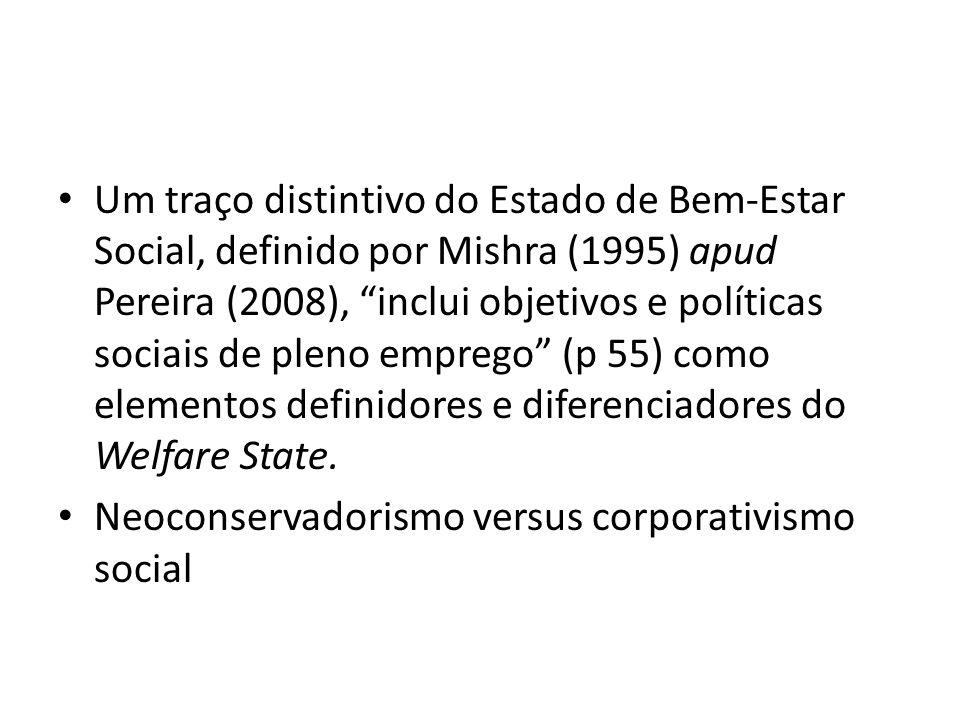 Um traço distintivo do Estado de Bem-Estar Social, definido por Mishra (1995) apud Pereira (2008), inclui objetivos e políticas sociais de pleno emprego (p 55) como elementos definidores e diferenciadores do Welfare State.