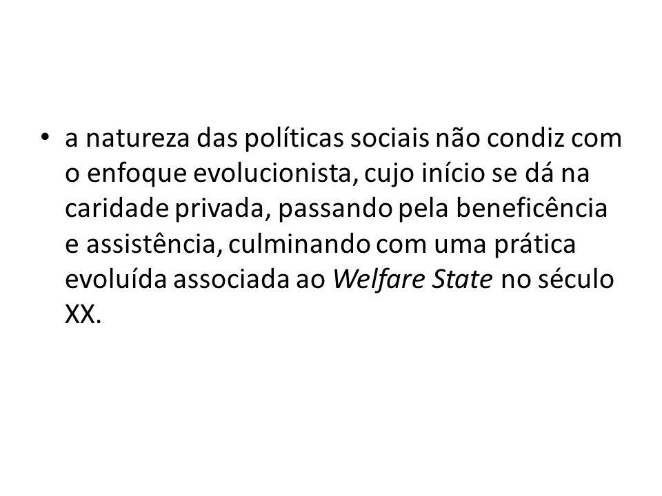 a natureza das políticas sociais não condiz com o enfoque evolucionista, cujo início se dá na caridade privada, passando pela beneficência e assistência, culminando com uma prática evoluída associada ao Welfare State no século XX.