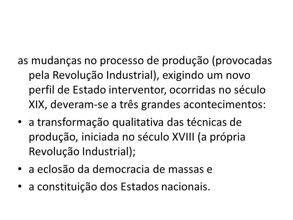 as mudanças no processo de produção (provocadas pela Revolução Industrial), exigindo um novo perfil de Estado interventor, ocorridas no século XIX, deveram-se a três grandes acontecimentos: