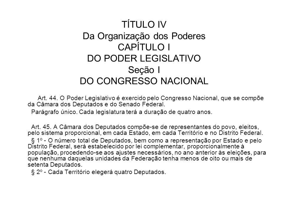 TÍTULO IV Da Organização dos Poderes CAPÍTULO I DO PODER LEGISLATIVO Seção I DO CONGRESSO NACIONAL
