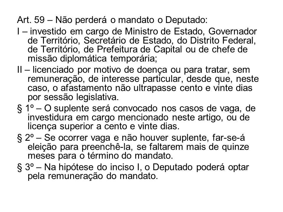 Art. 59 – Não perderá o mandato o Deputado: