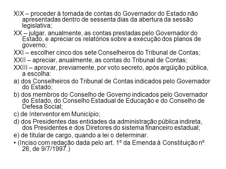 XIX – proceder à tomada de contas do Governador do Estado não apresentadas dentro de sessenta dias da abertura da sessão legislativa;