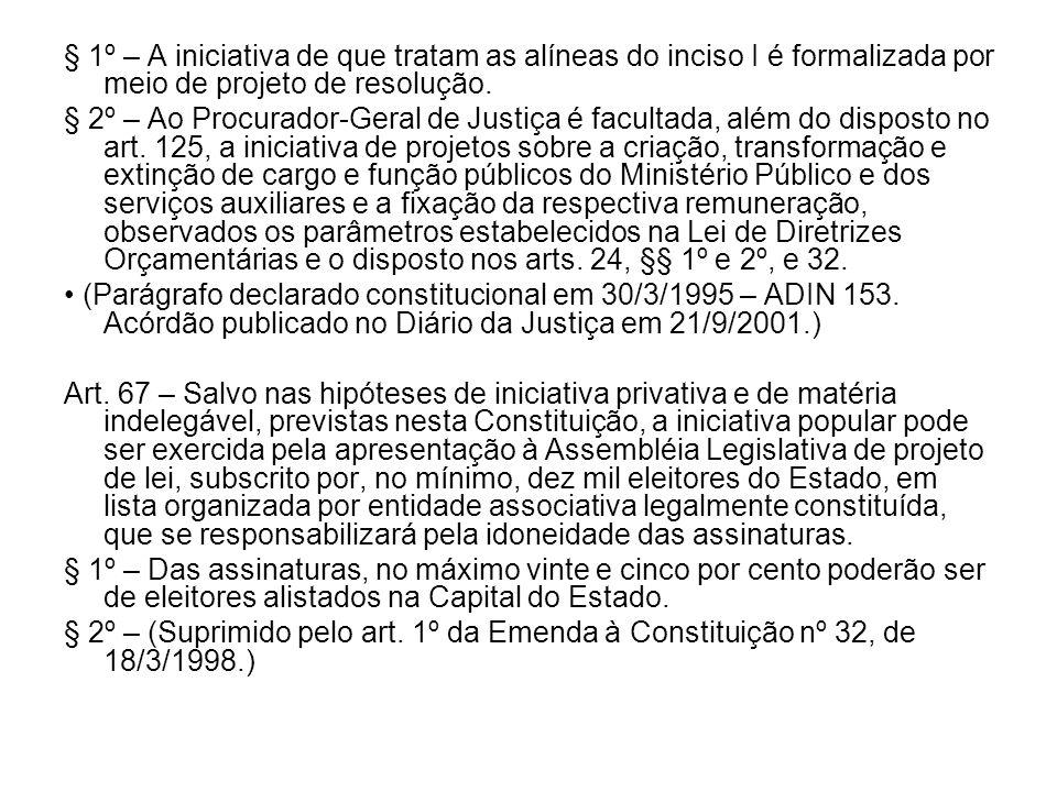 § 1º – A iniciativa de que tratam as alíneas do inciso I é formalizada por meio de projeto de resolução.