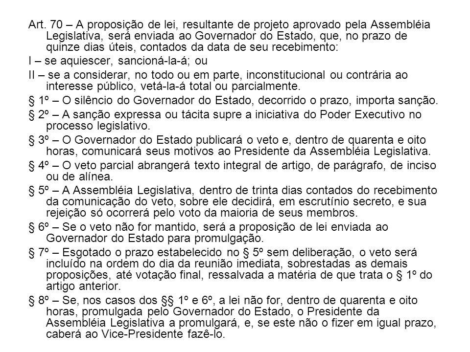 Art. 70 – A proposição de lei, resultante de projeto aprovado pela Assembléia Legislativa, será enviada ao Governador do Estado, que, no prazo de quinze dias úteis, contados da data de seu recebimento: