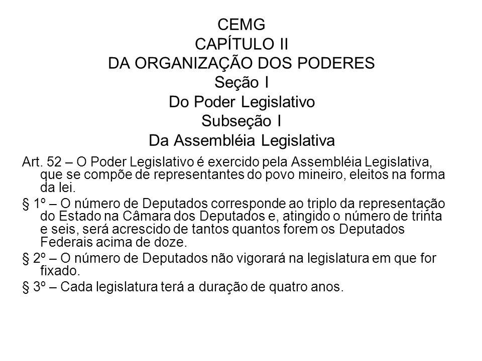 CEMG CAPÍTULO II DA ORGANIZAÇÃO DOS PODERES Seção I Do Poder Legislativo Subseção I Da Assembléia Legislativa