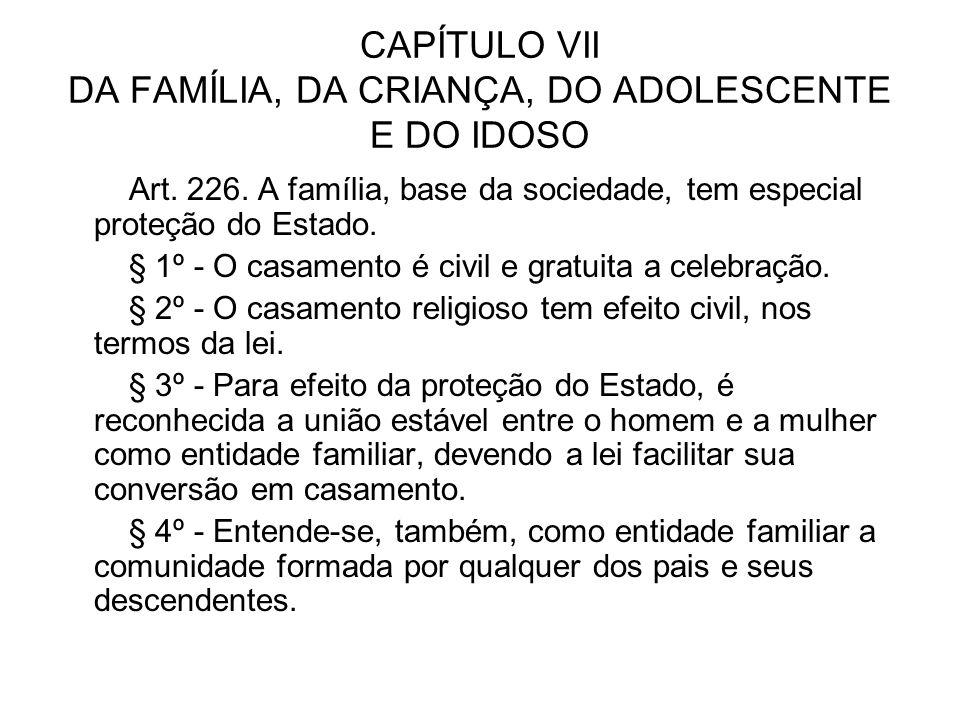 CAPÍTULO VII DA FAMÍLIA, DA CRIANÇA, DO ADOLESCENTE E DO IDOSO
