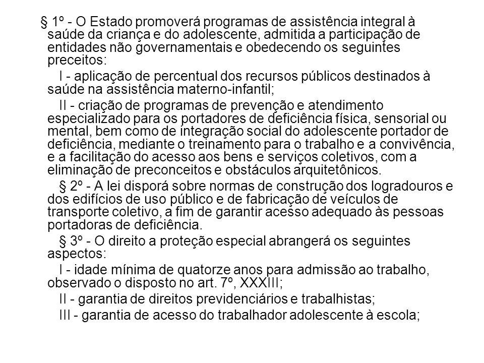 § 1º - O Estado promoverá programas de assistência integral à saúde da criança e do adolescente, admitida a participação de entidades não governamentais e obedecendo os seguintes preceitos: