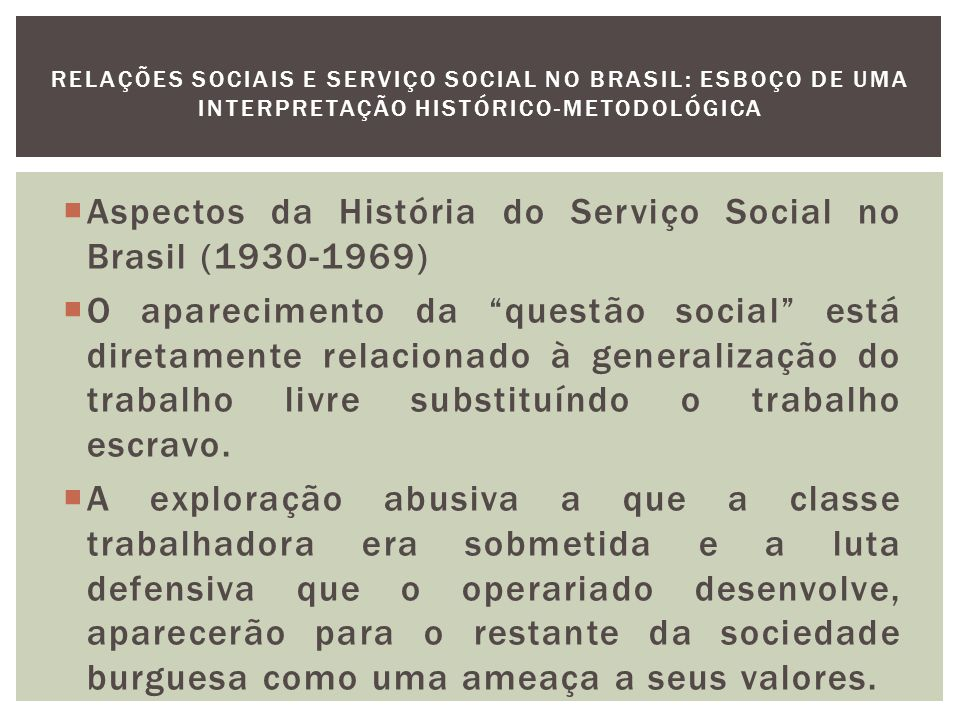 Aspectos da História do Serviço Social no Brasil (1930-1969)