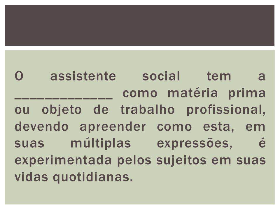 O assistente social tem a _____________ como matéria prima ou objeto de trabalho profissional, devendo apreender como esta, em suas múltiplas expressões, é experimentada pelos sujeitos em suas vidas quotidianas.