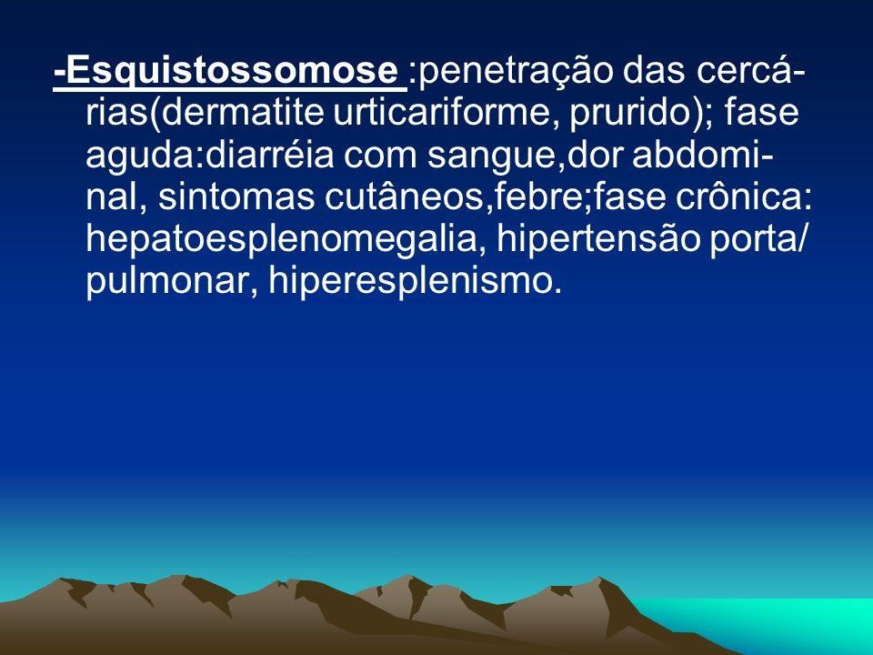 -Esquistossomose :penetração das cercá- rias(dermatite urticariforme, prurido); fase aguda:diarréia com sangue,dor abdomi- nal, sintomas cutâneos,febre;fase crônica: hepatoesplenomegalia, hipertensão porta/ pulmonar, hiperesplenismo.