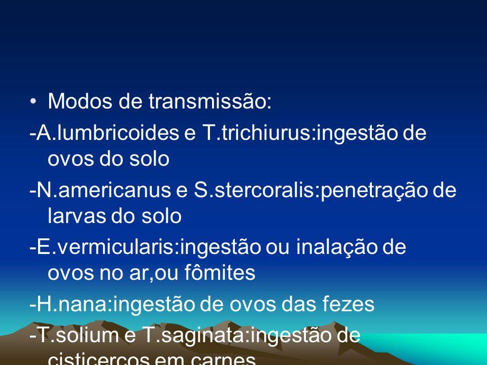 Modos de transmissão: -A.lumbricoides e T.trichiurus:ingestão de ovos do solo. -N.americanus e S.stercoralis:penetração de larvas do solo.
