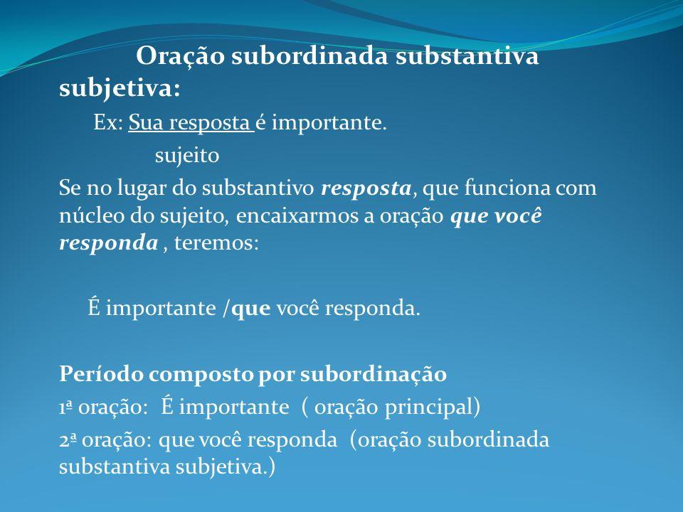 Oração subordinada substantiva subjetiva: