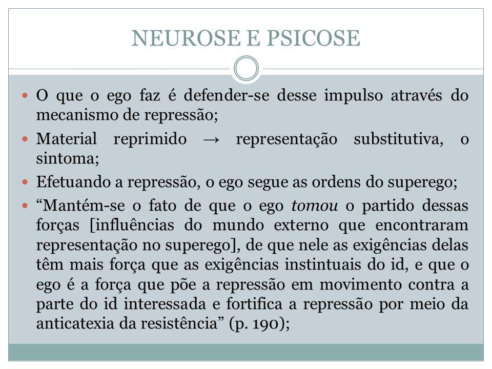 NEUROSE E PSICOSE O que o ego faz é defender-se desse impulso através do mecanismo de repressão;