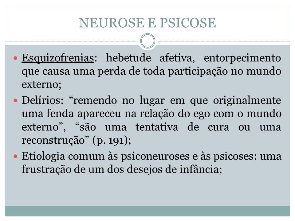 NEUROSE E PSICOSE Esquizofrenias: hebetude afetiva, entorpecimento que causa uma perda de toda participação no mundo externo;