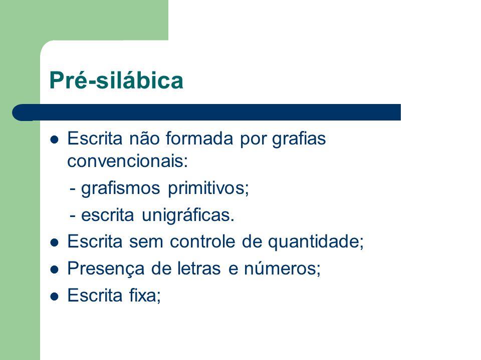 Pré-silábica Escrita não formada por grafias convencionais: