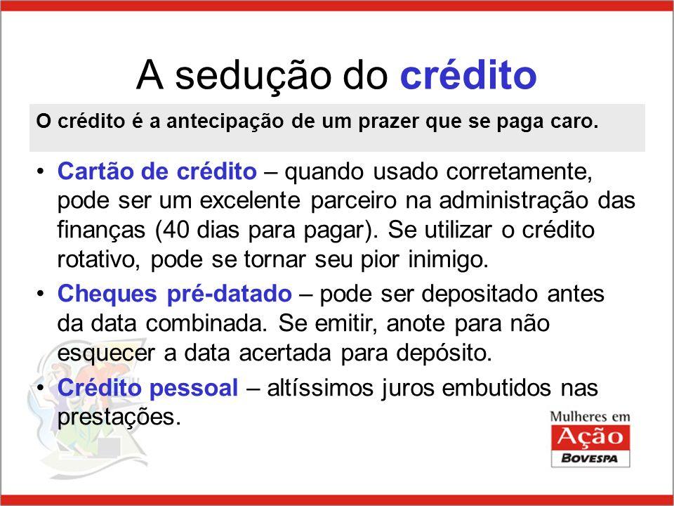 A sedução do crédito O crédito é a antecipação de um prazer que se paga caro.