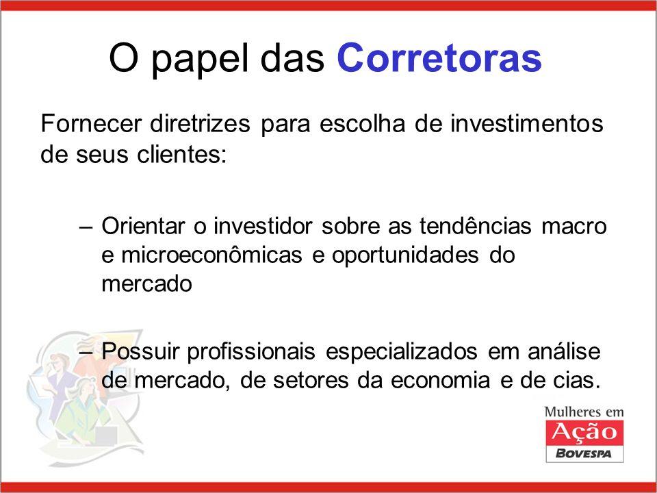 O papel das CorretorasFornecer diretrizes para escolha de investimentos de seus clientes: