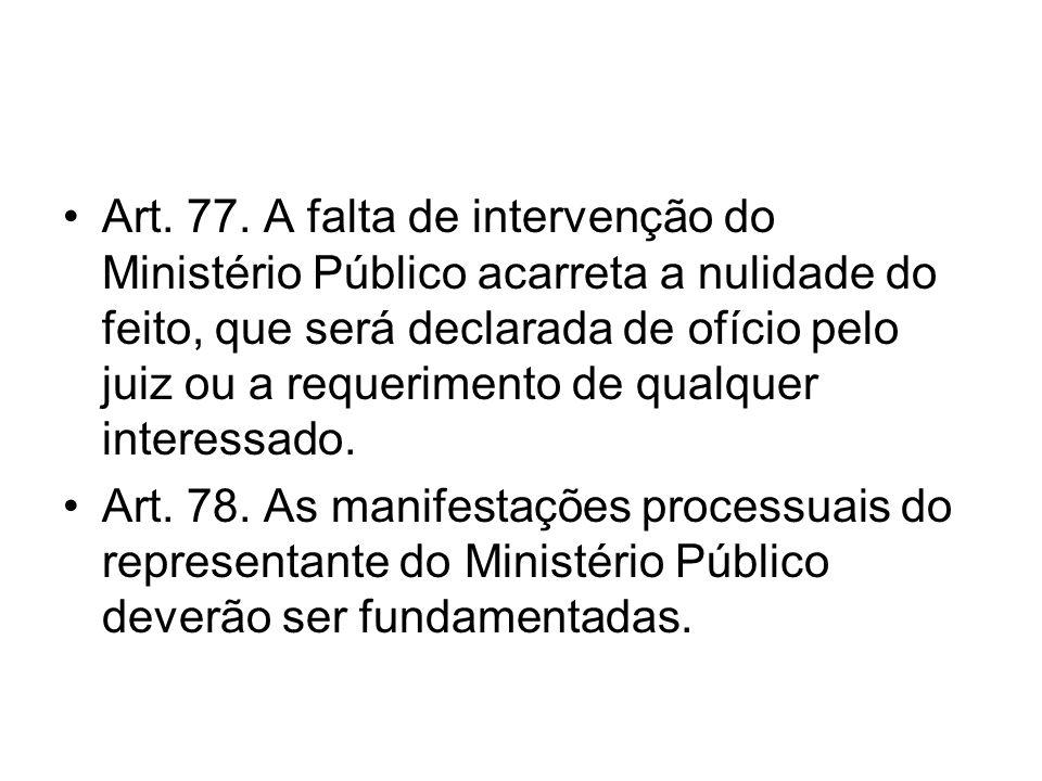 Art. 77. A falta de intervenção do Ministério Público acarreta a nulidade do feito, que será declarada de ofício pelo juiz ou a requerimento de qualquer interessado.