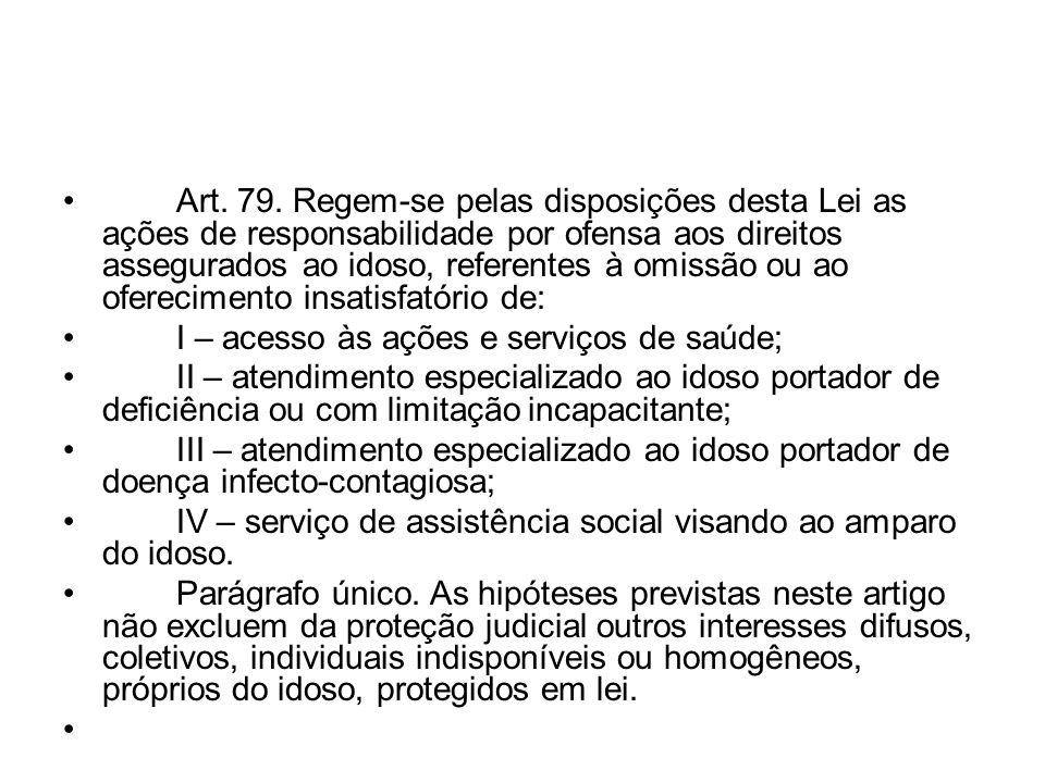 Art. 79. Regem-se pelas disposições desta Lei as ações de responsabilidade por ofensa aos direitos assegurados ao idoso, referentes à omissão ou ao oferecimento insatisfatório de: