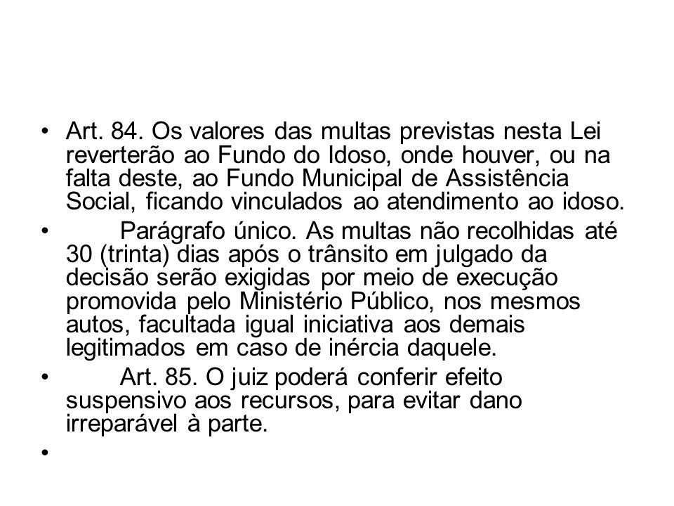Art. 84. Os valores das multas previstas nesta Lei reverterão ao Fundo do Idoso, onde houver, ou na falta deste, ao Fundo Municipal de Assistência Social, ficando vinculados ao atendimento ao idoso.
