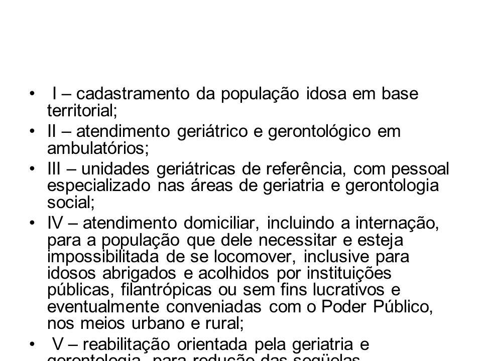 I – cadastramento da população idosa em base territorial;