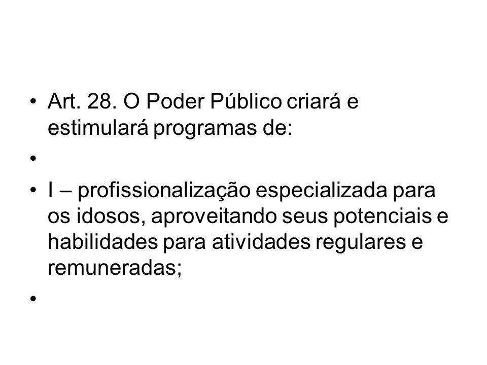 Art. 28. O Poder Público criará e estimulará programas de: