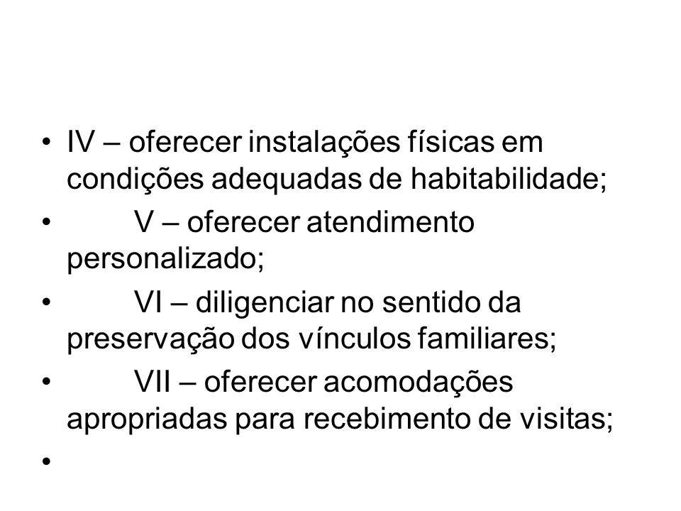 IV – oferecer instalações físicas em condições adequadas de habitabilidade;
