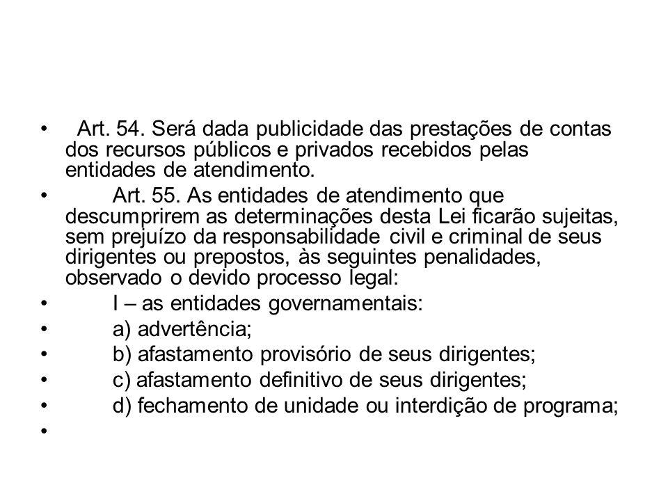 Art. 54. Será dada publicidade das prestações de contas dos recursos públicos e privados recebidos pelas entidades de atendimento.