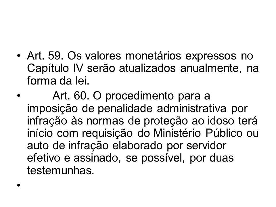 Art. 59. Os valores monetários expressos no Capítulo IV serão atualizados anualmente, na forma da lei.