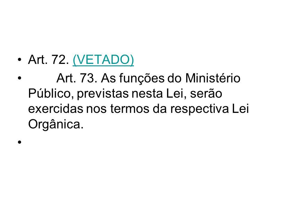 Art. 72. (VETADO) Art. 73. As funções do Ministério Público, previstas nesta Lei, serão exercidas nos termos da respectiva Lei Orgânica.