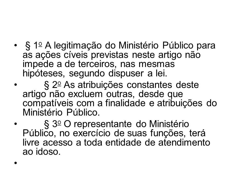 § 1o A legitimação do Ministério Público para as ações cíveis previstas neste artigo não impede a de terceiros, nas mesmas hipóteses, segundo dispuser a lei.