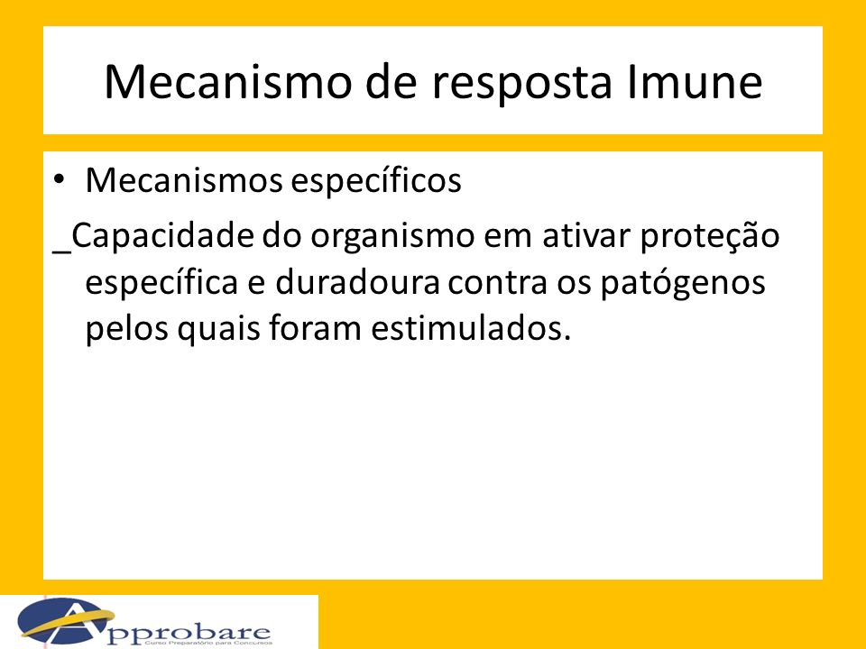 Mecanismo de resposta Imune