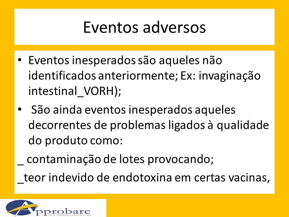 Eventos adversos Eventos inesperados são aqueles não identificados anteriormente; Ex: invaginação intestinal_VORH);