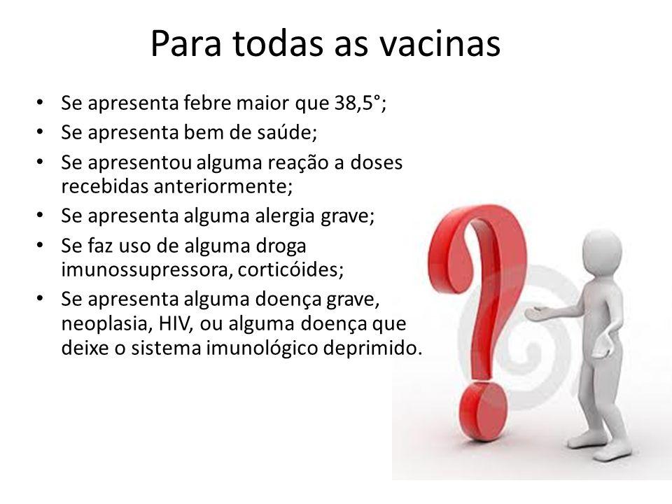 Para todas as vacinas Se apresenta febre maior que 38,5°;