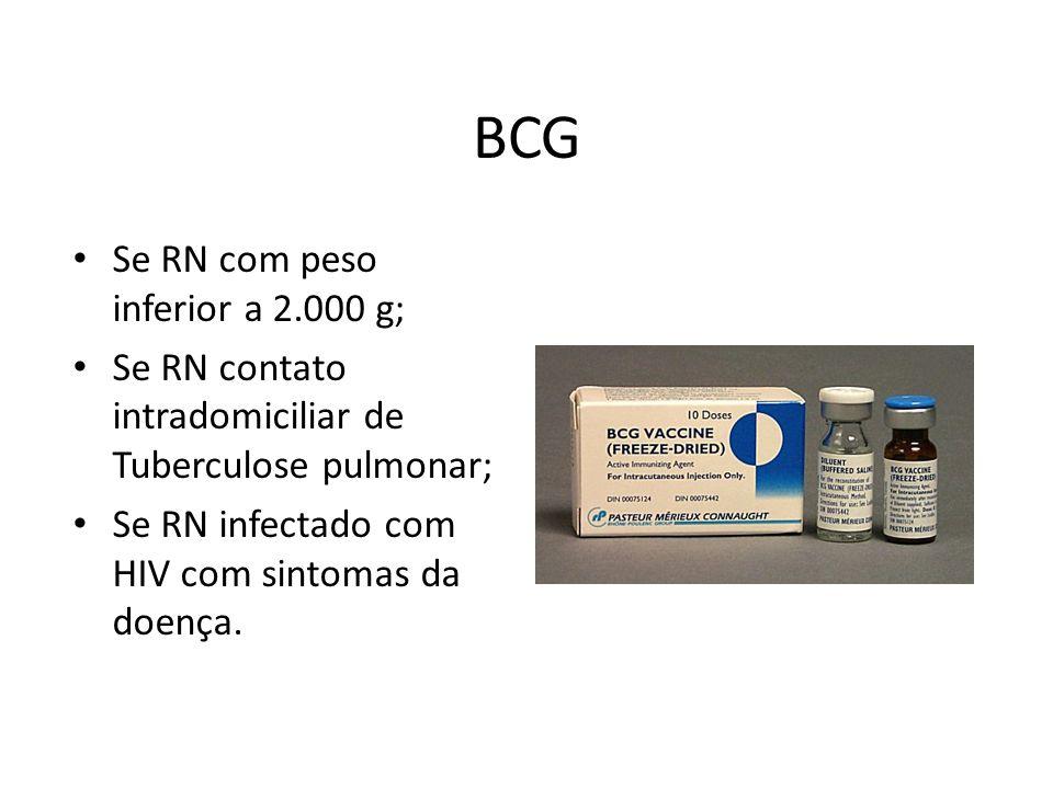 BCG Se RN com peso inferior a 2.000 g;