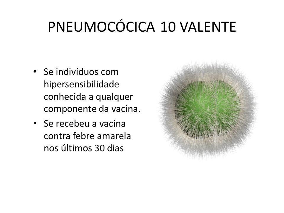 PNEUMOCÓCICA 10 VALENTE Se indivíduos com hipersensibilidade conhecida a qualquer componente da vacina.