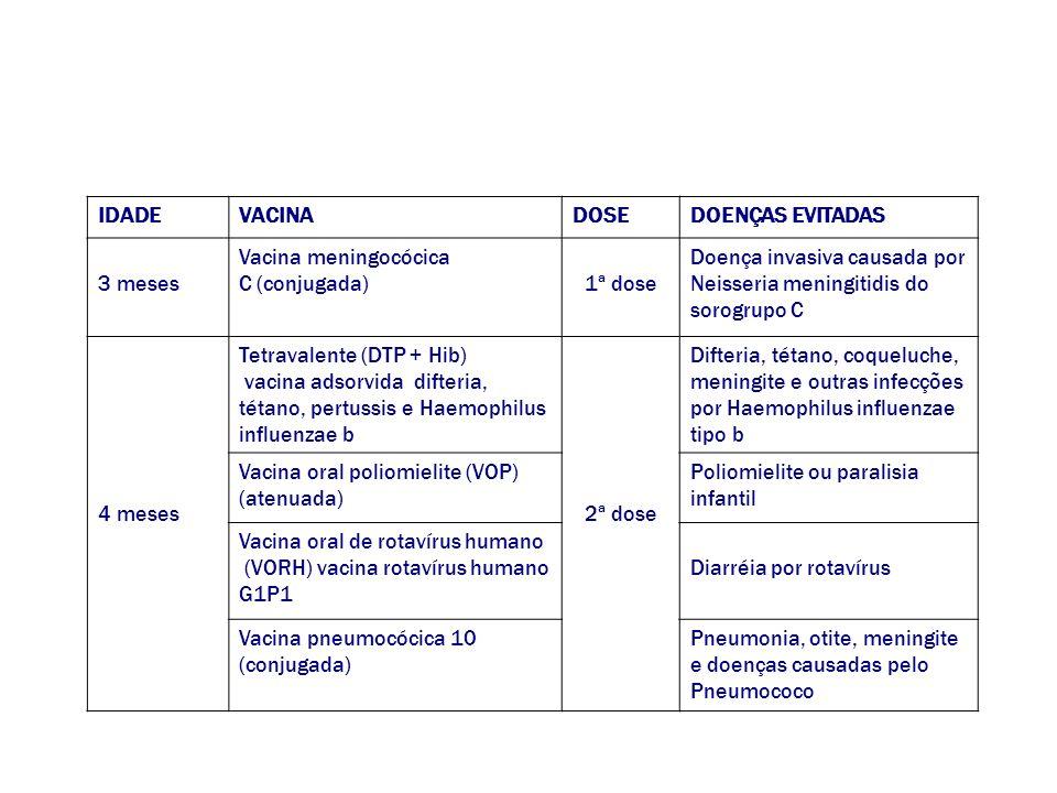 IDADE VACINA. DOSE. DOENÇAS EVITADAS. 3 meses. Vacina meningocócica. C (conjugada) 1ª dose. Doença invasiva causada por.