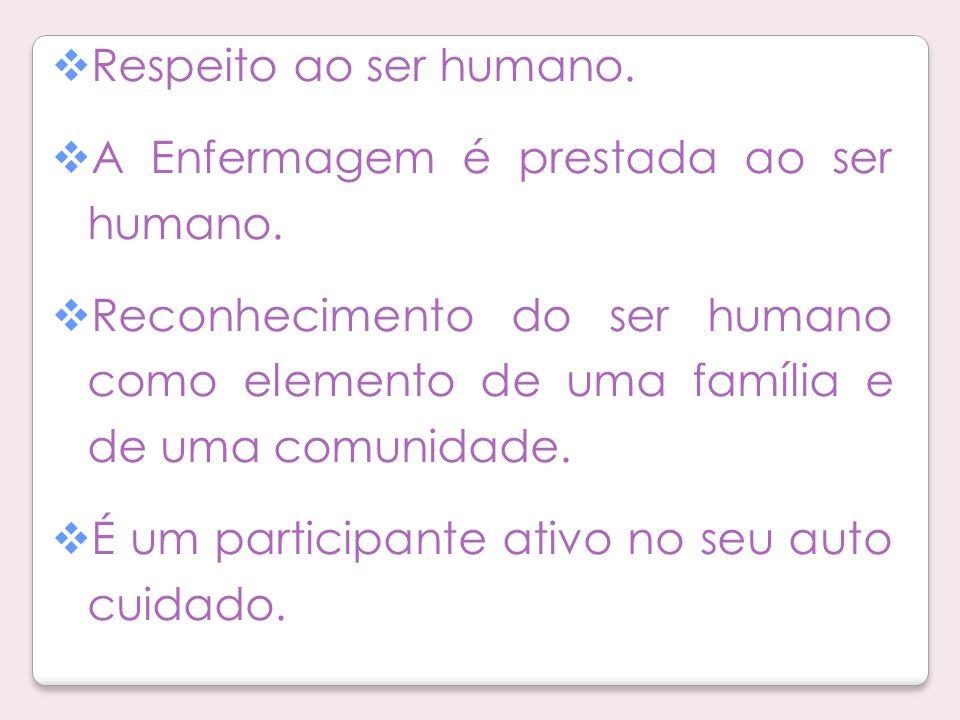 Respeito ao ser humano. A Enfermagem é prestada ao ser humano. Reconhecimento do ser humano como elemento de uma família e de uma comunidade.