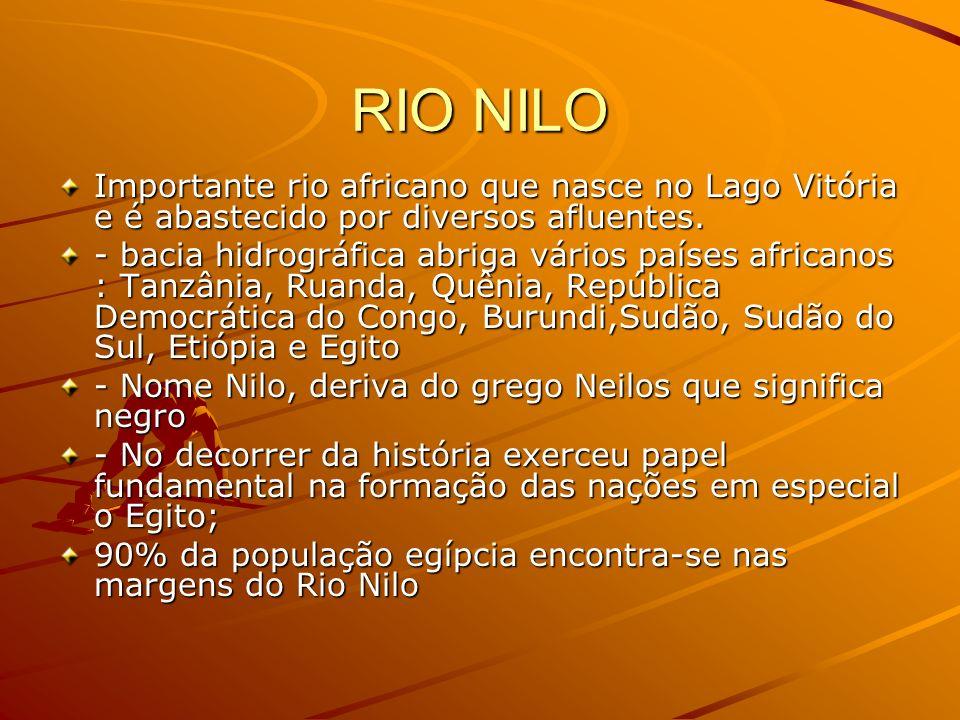 RIO NILO Importante rio africano que nasce no Lago Vitória e é abastecido por diversos afluentes.