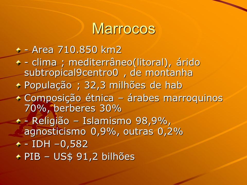 Marrocos - Area 710.850 km2. - clima ; mediterrâneo(litoral), árido subtropical9centro0 , de montanha.