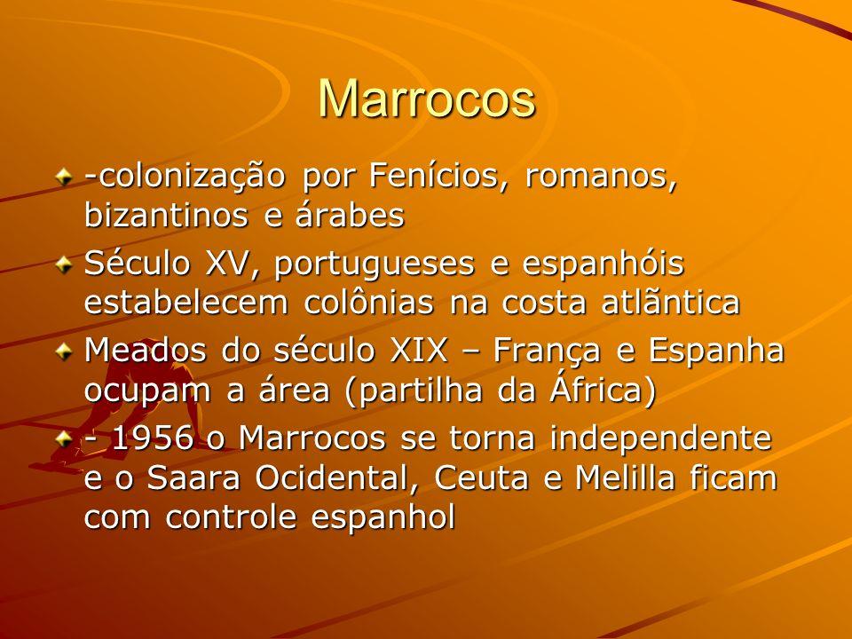 Marrocos -colonização por Fenícios, romanos, bizantinos e árabes