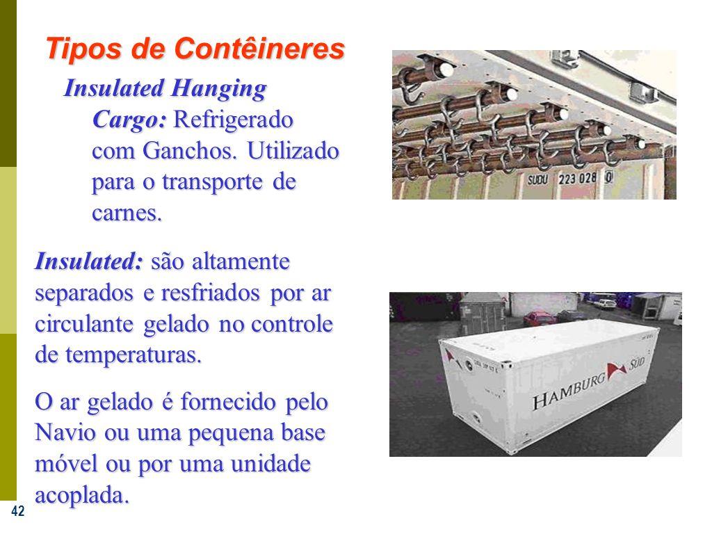 Tipos de Contêineres Insulated Hanging Cargo: Refrigerado com Ganchos. Utilizado para o transporte de carnes.