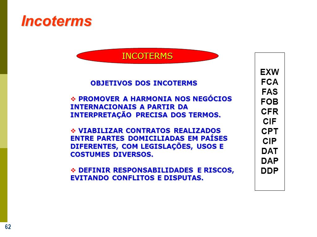 Incoterms INCOTERMS EXW FCA FAS FOB CFR CIF CPT CIP DAT DAP DDP