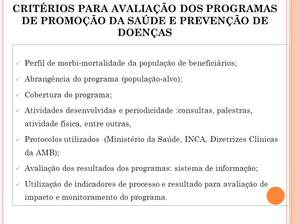 CRITÉRIOS PARA AVALIAÇÃO DOS PROGRAMAS DE PROMOÇÃO DA SAÚDE E PREVENÇÃO DE DOENÇAS