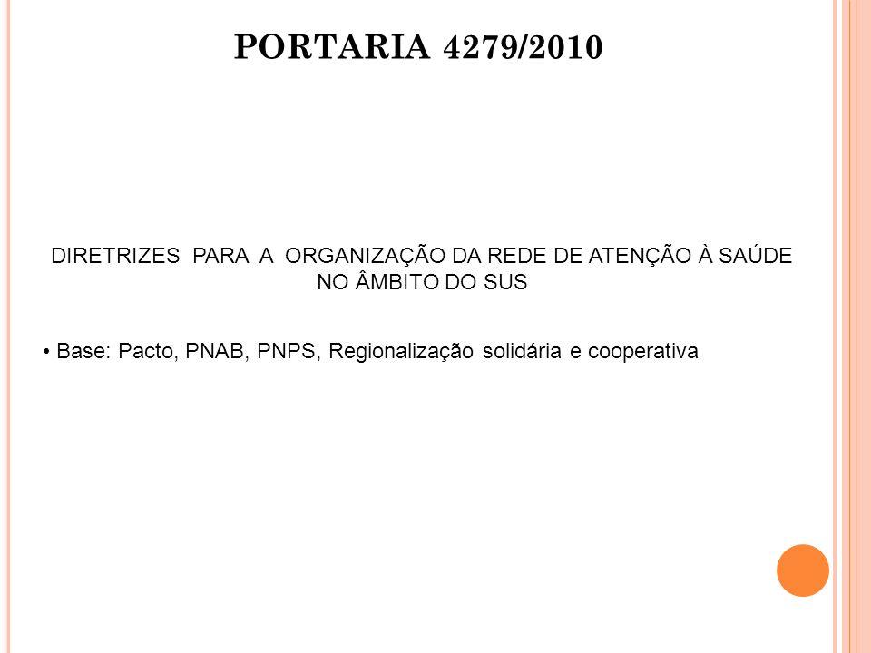 PORTARIA 4279/2010 DIRETRIZES PARA A ORGANIZAÇÃO DA REDE DE ATENÇÃO À SAÚDE NO ÂMBITO DO SUS.