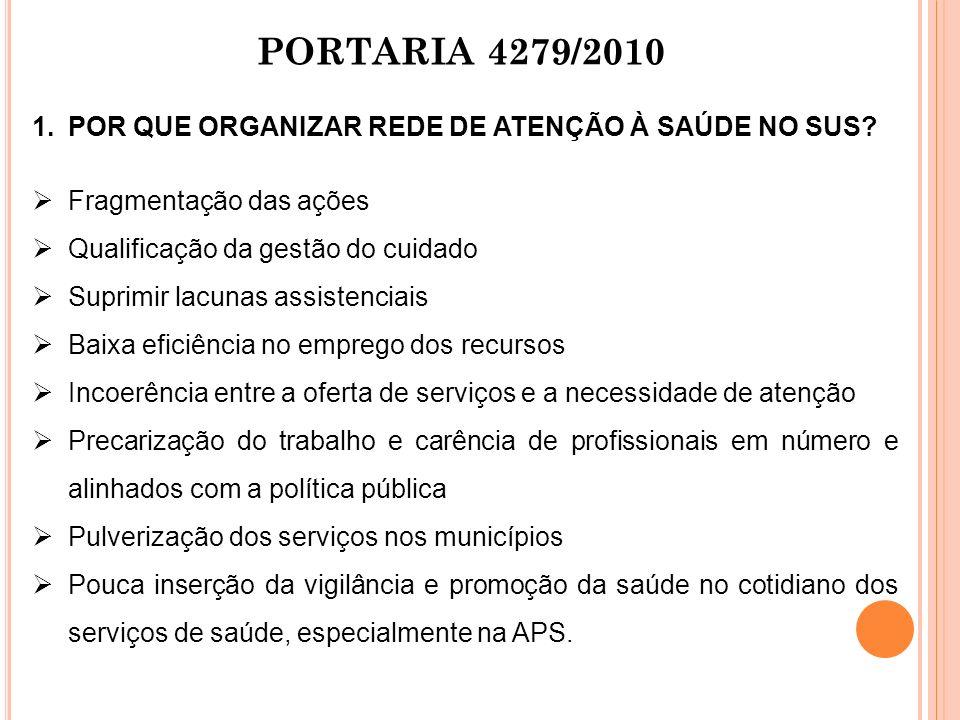PORTARIA 4279/2010 POR QUE ORGANIZAR REDE DE ATENÇÃO À SAÚDE NO SUS
